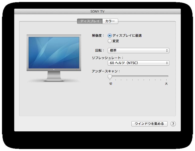 Sony TV設定画面