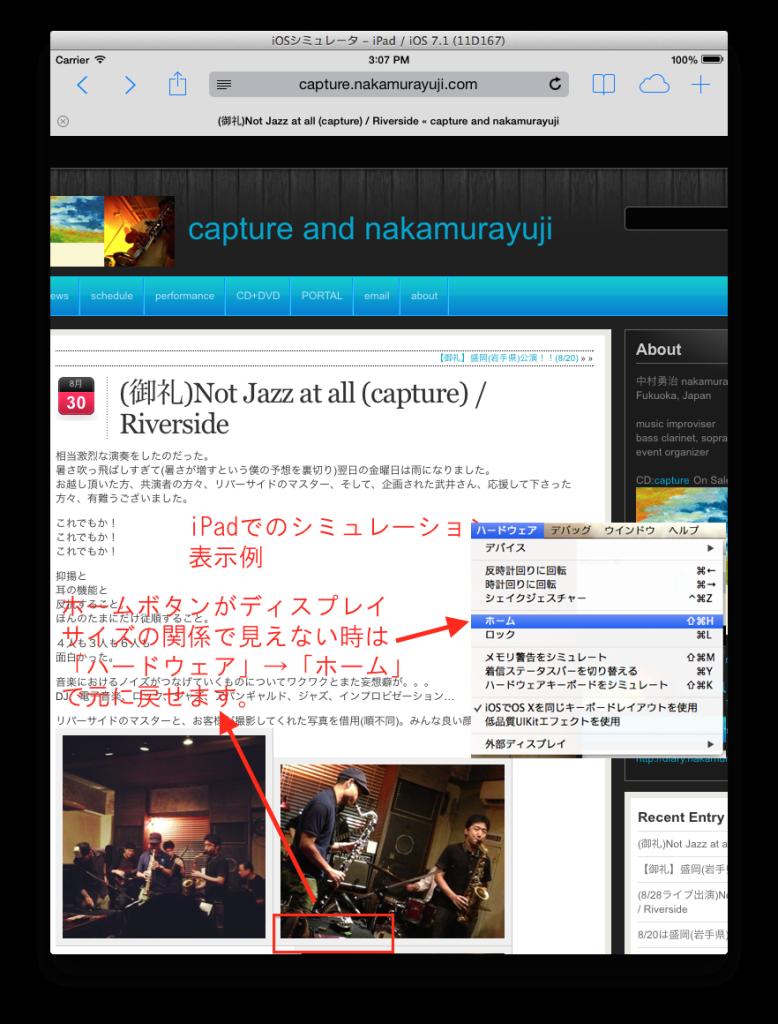 iOSシミュレータiPad画面